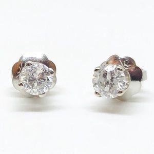 14k White Gold 1/4 CTW Round Diamond Stud Earrings